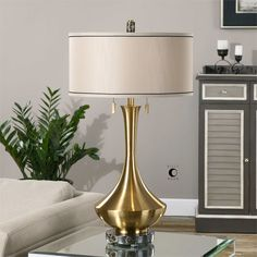 Uttermost Rubbiano Brushed Brass Lamp 33h