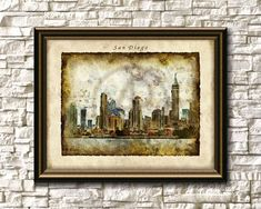 San Diego Skyline Art Print,San Diego Printable Wall Art,San Diego Cityscape Digital Print,Instant Download,Watercolor,Gift,San Diego Poster