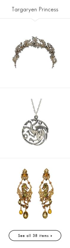 """""""Targaryen Princess"""" by floraleona ❤ liked on Polyvore featuring fantasy, got, asoiaf, dragons, targaryen, accessories, hair accessories, jewelry, crowns and tiaras"""
