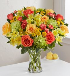Summertime calls for bright, bold blooms! Our Citrus Sunshine™ Bouquet features bright, citrus colored roses, Peruvian lilies, button poms, spider mums and mini carnations. These sunshine colored summer flowers are guaranteed to send warm wishes. 800 Flowers, Types Of Flowers, Bouquet Flowers, Bouquets, Summer Flowers, Fresh Flowers, Sympathy Plants, Mini Carnations, Peruvian Lilies