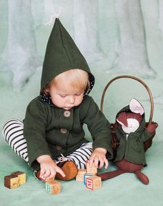 Hazel Village Baby Jacket with Elf Hood in Forest Green
