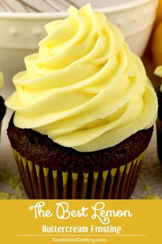 When life gives you lemons, make this delicious Best Lemon Buttercream Frosting. Bright, fresh, creamy and lemony. This is a traditional homemade lemon butter cream frosting that everyone will love. And it is so easy to make. Icing Recipe, Frosting Recipes, Cupcake Recipes, Cupcake Cakes, Dessert Recipes, Homemade Frosting, Icing Tips, Lemon Desserts, Lemon Recipes