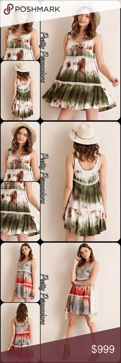 NWT Green Tie Dyed Viole & Lace Slip Dress Tunic Coming Soon (Orange Tie Dyed Combo coming Soon in separate listing). Also currently available in light mocha, light gray, blush, ombré aqua/navy & ombré pink in separate listings. Pretty Persuasions Dresses