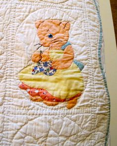 Antique Appliqued Baby Quilt with 12 Cats by VintageEstateLiving, $150.00
