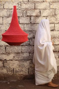 Large Joosh Crochet Pendant Light in Coral on Henna. Handcrafted in Marrakech.
