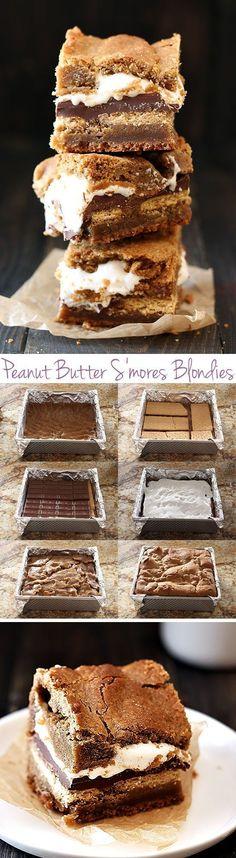 Peanut Butter S'mores Blondies - my boyfriend called this his FAVORITE dessert!