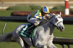 Dont see this everyday! White racehorse, Hansen. My money's on this one to win the Derby May 5th. Can't wait to see him. :)