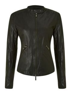 Armani Jeans Collarless fly front leather jacket Black - House of Fraser