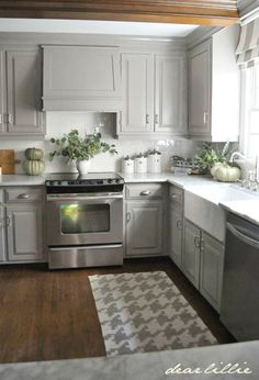 This rug looks great on her dark wood floor and picks up the colors in her cabinets and walls. Description from intentionalhospitality.com. I searched for this on bing.com/images