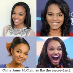 When they described Iko's new body I immediately thought of China Anne McClain.  She would be the perfect escort droid.  China has the same hyper, girly attitude that Iko has.  Even before Iko gets the escort-droid body, Iko could still be the voice of her.  For when Iko is the pear-shaped android, they could edit something in or something..like that..I guess.  They of course would HAVE TO die her hair blue and braid it