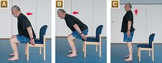 If you're not very active, you may want to get the all-clear from a GP before starting This exercise is good for improving leg strength.  A. Sit on the edge of the chair, feet hip-width apart. Lean slightly forwards.  B. Stand up slowly using your legs, not arms. Keep looking forward and don't look down.  C. Stand upright before slowly sitting down, bottom-first.  Aim for five repetitions – the slower the better.