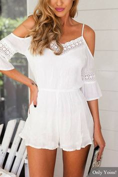 Cold Shoulder Playsuits With Lace Inserts -YOINS