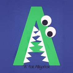 """""""A"""" is for Alligator! Alphabet Art is a great way to teach young children sight words, letter recognition, anddevelop fine motor skills... All while having fun (and creatingan adorablekeepsake)! This 11 page PDF includes: a template to make your own """"A"""" Alligator step-by-step instructions list of supplies needed var"""