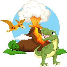 Desenhos animados bonitos do tiranossauro e do pterodátilo com fundo do vulcão ilustração do vetor Cartoon Cartoon, Dinosaur Pictures, Card Tags, Cards, Dinosaur Drawing, Birthday Backdrop, Tyrannosaurus, Dinosaur Party, Painted Rocks