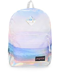 Give your beach style a prismatic flare with the Super FX multi sunset 25 liter backpack that features tons of storage, a simple design, and ultimate style. This backpack features a sunset multi color pattern on the body accented by prismatic vinyl detail Mochila Jansport, Sac Jansport, School Supplies Organization, Diy School Supplies, Girly Backpacks, Pretty Backpacks, Stylish Backpacks, Leather Backpacks, Leather Bags