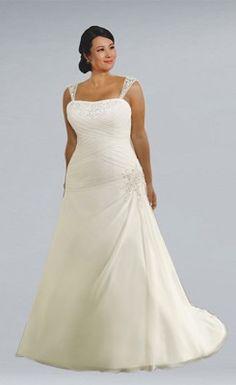 Delicate Chiffon Straps Floor Length Wedding Dress