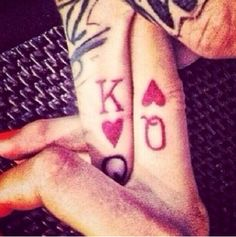 Heart King and Queen #finger tattoo