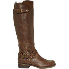 G by GUESS Women's Shoes, Hyderi Riding Boots (130 AUD) ❤ liked on Polyvore featuring shoes, boots, botas, sapatos, brown, knee-high boots, brown knee high boots, g by guess boots, brown platform boots and buckle riding boots