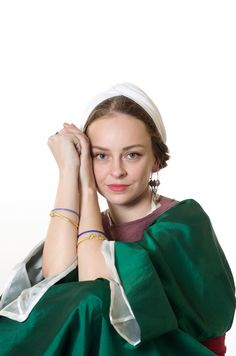 Middle Byzantine citizen lived in Mediterranean region of Empire. Bracelets and earrings - copies of Arechological finds of Greece. Handmade silk dalmatica Handmade cotton turban