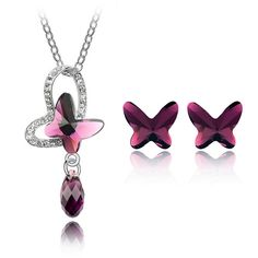 Crystal from Swarovski Sweet Butterfly Jewelry Set Made with Swarovski Element Women Fashion Pendant Necklace Stud Earrings Sets