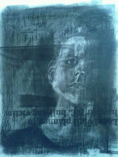 Charcoal on newspaper by Cari Griffin