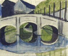 The Arched Bridge, 1930. Ursula Fookes (1906-1991). Color linocut. | Flickr - Photo Sharing!