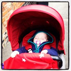 Cosy in red pushchair and blankets