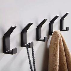 Towel Hooks, Coat Hooks, Bathroom Hardware, Bathroom Fixtures, Clothes Hooks, White Towels, Black Kitchens, Black Decor, Kitchen Accessories