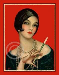 Marland Stone Art Deco Flapper Print, Jazz Age Vamp, Long Draped Pearl necklace, Flapper…