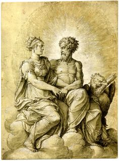 Description Jupiter and Semele seated on the clouds; holding hands and looking at each other, the eagle at r Pen and brown ink, with olive-green wash, heightened with white (partly oxidised), on pale olive-green paper, with traces of black chalk squaring