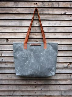 Waxed canvas bag/ carry all with  leather handles by treesizeverse, $87.00