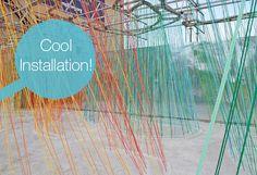 colored macrame public installation