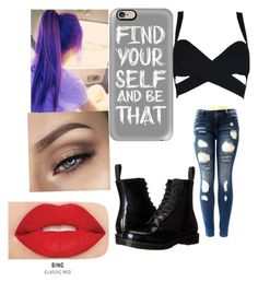 """""""Untitled #132"""" by elesedunn on Polyvore featuring Dr. Martens, Smashbox and Casetify"""
