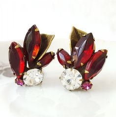 Vintage Weiss Ruby Red Clear Rhinestones Leaf by TheCitrineBee