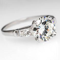 Vintage Cathedral Diamond Engagement Ring Platinum