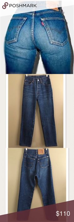 """70's Vintage Levi's 501's size 23/24! TINY LADIES LISTEN UP!!! A gorgeous pair of dark wash vintage Levi's 501's from the 70's. In a super rare TINY size 23/24. Waist measures 11.5"""" across= approximately 23"""" waist, but being that the rise on these babies is even higher than the average high-waisted jean, it which equates to a smaller waist line. These hug, lift and perform in all the right places! Levi's Jeans"""