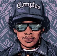 one of the greatest icons of hip hop, with great hits from the east side scene. eay-z hiphop gangstalife compton cali cafifornia eastside old 90 Arte Do Hip Hop, Hip Hop Art, Dope Cartoons, Dope Cartoon Art, Arte Dope, Dope Art, Caricature, Arte Cholo, History Of Hip Hop