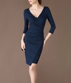 New Autumn Dress Elegant Deep V neck Three Quarter Sleeves Pleated Asymmetry Blue Dress Pre-sale