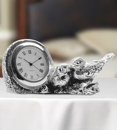 Table Clock with Sparrows - The attractive two-sparrows silver clock is designed in a