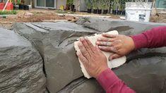 Concrete Crafts, Concrete Projects, Concrete Wall, Faux Rock Walls, Faux Stone Walls, Rock Retaining Wall, Diy Plaster, Fake Rock, Fake Stone