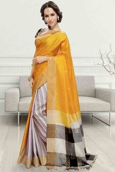 Multi colour silk weaved saree in golden border & multi colour pallu