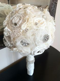 Wedding Bouquet / Vintage Inspired Ivory Bridal Bouquet / Alternative Bouquet / Bouquets / Brooch Bouquet on Etsy, $275.00