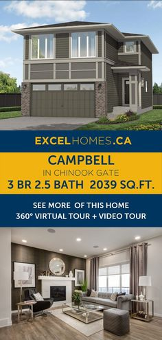 3 bedroom 2.5 bathroom 2,039 SQ.FT home floorplan + virtual tour! View more of this house: Campbell in Chinook Gate | Home design by Excel Homes | Large home floorplan | 3 bed floor plan #homedesign #home #house #homebuilder #houseplans #floorplan