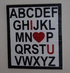 Love You Sign, ABC'S, Heart Sign, Valentine's Day Sign, Gift For Her, Gift for Him, Valentine's Gift, February Sign, Boyfriend, Girlfriend