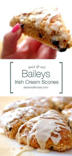 Quick and Easy Baileys Irish Cream Scones YUM! These scones have a lovely crust and a tender texture lower fat version too! You won't need to go the coffee shop any more . . . | seasonalmuse.com