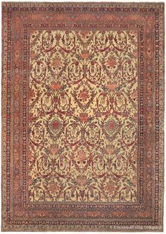 Halvai Bijar, 11ft 3in x 15ft 10in, Circa 1875. This truly singular antique Persian rug offers an extremely rare combination of palette and design. Rendering the beloved Guli Farang stylized garden design on a golden ivory field is a brilliant departure from tradition and, with its grand size, almost certainly points to it being woven as an important commission. This art-level oriental carpet is a prized among antique rug connoisseurs.
