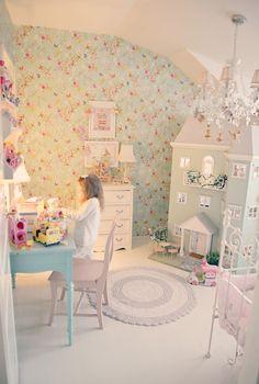 🌟Tante S!fr@ loves this📌🌟kaunis pieni elämä Diy Bedroom Decor For Girls, Girl Bedroom Designs, Baby Bedroom, Baby Room Decor, Nursery Room, Girls Bedroom, Fantasy Bedroom, Floral Room, Princess Room