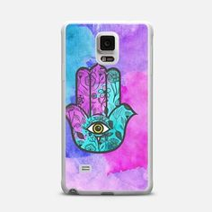 Teal, Pink, and Purple Watercolor Paint and Hand Drawn Flowers Pattern Hamsa Hand of Fatima