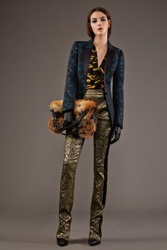 Roberto Cavalli Pre-Fall 2015 Runway Photos: love the mix of brocade, rich colors and pants.
