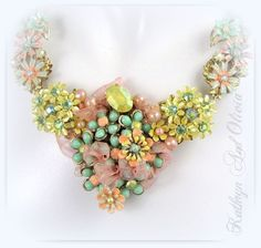 yellow mint and peach | Flower Bib Necklace Peach Mint Yellow Color by KathrynandOlivia